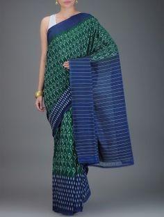 Green-Blue Ikat Cotton Saree