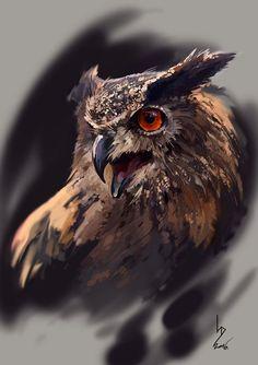Eagle-Owl by Dmitriy Iorgachov on ArtStation. Owl Bird, Bird Art, Pet Birds, Owl Photos, Owl Pictures, Owl Tattoo Drawings, Animal Drawings, Realistic Owl Tattoo, Buho Tattoo