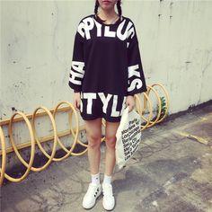 原宿系韓国ファッション英文柄ロング丈Tシャツ