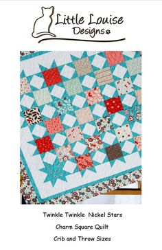 Twinkle Twinkle Nickel Stars EaSy Quilt PaTTerN - Crib or Throw Size uses Charm Squares. $9.00, via Etsy.
