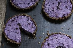 Raw blueberry key lime tarts with walnuts, almonds, cashews, maple syrup, and coconut oil.