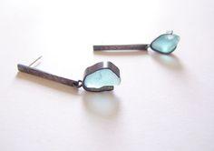 aqua pacific ocean beach glass, oxidised sterling silver