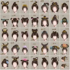 """A nice size chart to see the details of the different hairstyles.  To create some of these styles.  Horsehair extensions were used in period. As well as human hair from Buddist Nuns. And, copper wire for support.  Substitue with pipecleaners instead of using copper wire. Or fallen out hair from brushing, balled up into a """"rats nest"""" used as filler for inside buns."""