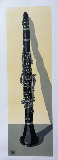 The Clarinet. Reduction Lino print. Edition of 30. © Steven Hubbard 2015