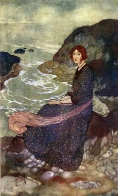 """""""Abysm of Time"""", from Edmund Dulac's Illustrations to The Tempest (Prospero: 'What sees thou else in the dark backward and abysm of time?' Act I, scene ii )"""