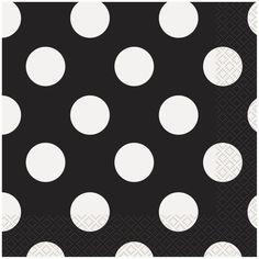 Black Polka Dots Luncheon Napkins, 16ct