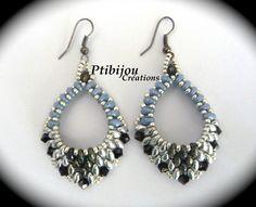 BO OVALES BLEUES 2 - smukke ovale øreringe i sølv-sort-blå - skal laves