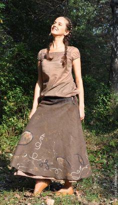 """Купить Юбка """"Древняя керамика"""" - коричневый, абстрактный, юбка, длинная юбка, юбка в пол"""