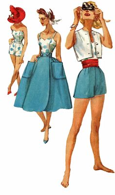 Simplicity 2531 1950s Bustier Fitted Shorts by retromonkeys, $55.00