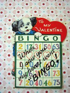 CUTE Vintage Valentine Card Circa 1940's dog and BINGO A-Meri-Card Valentine Bingo, Valentines Day Greetings, Vintage Valentine Cards, Vintage Greeting Cards, Love Valentines, Card Crafts, Paper Crafts, Bingo Cards, Vintage Dog