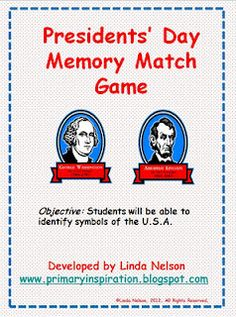 Presidents' Day Memory Match Free Printable from Primary Inspiration