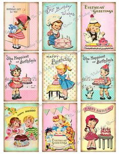 Retro Birthday Printables for Kids INSTANT by TheVintageRemix