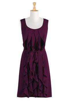 eShakti.com - All Sizes Special Occasion Dresses - Women's Fashion Dresses - Missy, Plus, Petite, Tall, 1X, 2X, 3X, 4X, 5X, 6X - Ruffle cascade dress