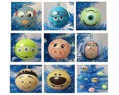 "Up, Toy Story, Ratatouille, Monsters Inc. Pixar Themed 8 Piece Holiday Christmas Tree Ornament Set Featuring Dug, Russell, Buzz Lightyear, Hamm, Alien, Remy, Sulley and Mike Wazowski - Shatterproof Plastic Ornaments are Around 2"" Tall and Wide"