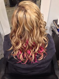 Blonde highlights and lowlights with pink color lights by #nslh