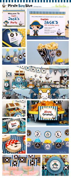 Pirate Birthday Party Package Collection Set Mega Personalized Printable Design by leelaaloo.com II #pirateboy #pirate #boy #party