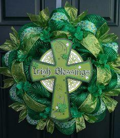 St. Patrick's Day, Irish, shamrock deco mesh wreath
