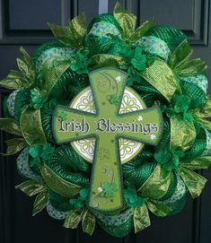 St. Patrick's Day, Irish, shamrock deco mesh wreath