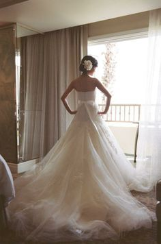 drop waist A-line gown, so gorgeous with the lace details and flowing tulle!