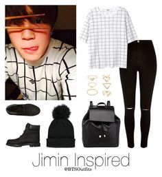 """Jimin Inspired Outfit"" by btsoutfits ❤ liked on Polyvore featuring River Island, Monki, Timberland, Barneys New York and Forever 21"