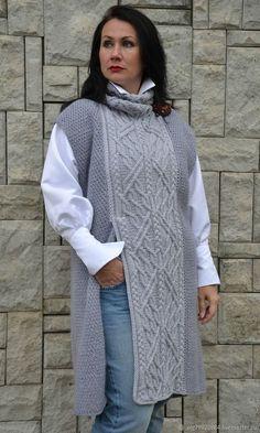 2f799f6586410ad Вязаная длинная безрукавка-платье из шерсти