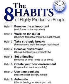 Success Motivation Work Quotes : QUOTATION – Image : Quotes Of the day – Description The 8 Habits of Highly Productive People Sharing is Caring – Don't forget to share this quote ! Self Development, Personal Development, Leadership Development, Professional Development, Coaching Personal, Life Coaching Tools, Guter Rat, Life Quotes Love, Life Coach Quotes