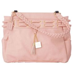 The Catalina Shell for Prima Bags blushes with the softest rose-petal pink yet glows like the sun's most radiant beams. She is the perfect combination of femininity and sophistication, and is destined to be a favorite in your collection. Smooth faux leather features double braided detail and matching braided handles. Shiny gold hardware adds a glamorous touch. Side pockets. Catalina comes with matching handles, key fob and a dust cover for easy storage.  www.bagsbylaurie.miche.com