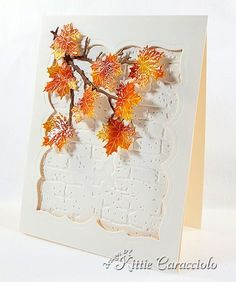 "handmade card for Autumn ... Impression Obsession  Sm. Leaf die cut Set used to cut maple leaves ... luv the warm colors against the white embossing folder textured bricks ... sprinkling of ""snow""  on the leaves ... great card!"