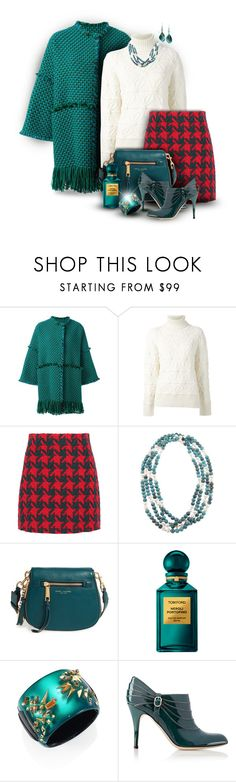"""""""Gucci Houndstooth Tweed Skirt in Red & Teal"""" by franceseattle ❤ liked on Polyvore featuring Gianluca Capannolo, Dsquared2, Gucci, DaVonna, Marc Jacobs, Tom Ford, Alexis Bittar, Valentino and Robert Lee Morris"""