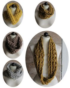 Picture of Thick & Quick Infinity Scarves & Cowls Crochet Pattern Crochet Scarves, Crochet Hooks, Knit Crochet, Crochet Wrap Pattern, Crochet Patterns, Sweater Patterns, Crochet Ideas, Chunky Infinity Scarves, Neck Accessories