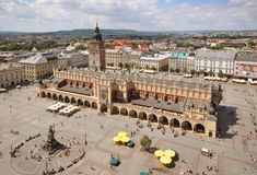 The main square of the Old Town of Kraków, Lesser Poland, is the principal urban space located at the center of the city. It dates back to the 13th century, and at roughly 40,000 m2 is one of the largest medieval town squares in Europe.[1][2] The Project for Public Spaces lists the square as the best public space in Europe due to its lively street life.[3]