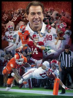 "Daniel A. Moore print ""Sweet Sixteen"" - his newest painting commemorating Alabama's incredible run for the 2015 National Championship. In this masterwork, the artist merges his first two prints from the 2015 season, Finish! and The Washout, into this new oil painting on canvas to create this dynamic work. #Alabama #RollTide #Bama #BuiltByBama #RTR #CrimsonTide #RammerJammer"