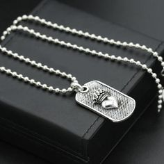 "Men's Sterling Silver Crown Heart Tag Necklace with Sterling Silver Bead Chain 18""-30"""