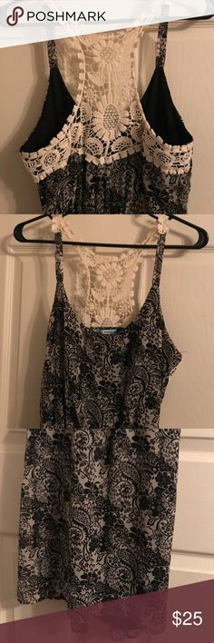 Dress with lace backing Black, gray paisley floral pattern with layered length and crochet back. Worn once. Maurices Dresses Midi