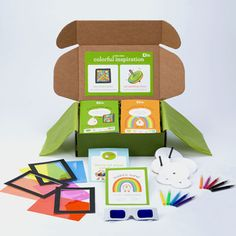 Kiwi Crate - boxes of art supplies mailed to your kids once a month- what a great idea!
