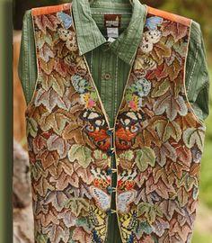 Butterfly Vest Hand Stitched by Kaffe Fassett
