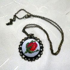 Necklace roseRed roseRed necklaceRed by KoserowaHandMade on Etsy
