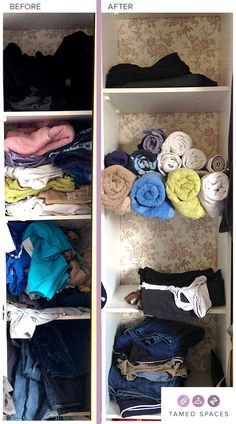 Tamed Spaces de-clutters this bedroom wardrobe in under 60 minutes showing the before, during and after process. Next step is to organise! Cluttered Bedroom, Declutter Bedroom, Bedroom Wardrobe, Cupboard, Organization, Spaces, Bathroom, Home Decor, Clothes Stand
