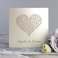 Lace Heart Laser Cut Wedding Invitation With by Cartalia on Etsy