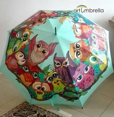 Hand Painted Umbrella with Big Owls family Rain Umbrella