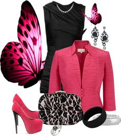 """""""Pink & Black"""" by ccroquer on Polyvore"""