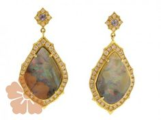 "Suneera ""Aura"" earrings with boulder opal, tanzanite, & pave diamonds"
