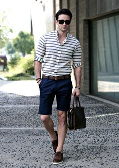 BASIC NAVY COTTON SHORTS with horizontal strip shirt. Great look for summer. www.designerclothingfans.com