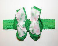 St. Patricks Shamrocks Green Bow Baby Lace Headband
