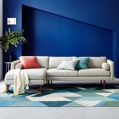 West Elm Monroe Mid -Century Set 1: Left Sofa, Right Chaise, Worn Velvet, Light Taupe