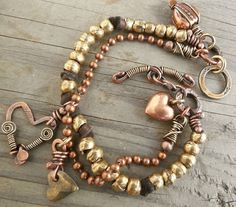 Mixed Metal Bracelet Antiqued Brass and Copper by lunedesigns
