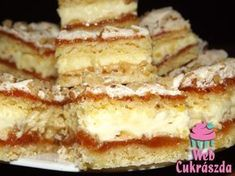 Habos krémes linzer Hungarian Desserts, Hungarian Cake, Hungarian Recipes, Baking Recipes, Cookie Recipes, Dessert Recipes, Peach Yogurt Cake, Austrian Recipes, Food To Make