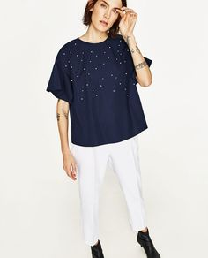 ZARA - WOMAN - POPLIN TOP WITH PEARLS DETAIL