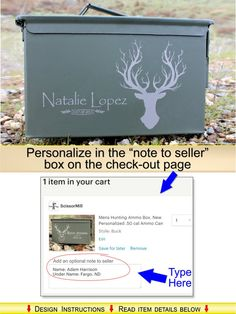 Custom Ammo Can. ScissorMill offers 9 personalized engraved designs American Flag, Eagle, Buck, Fire, Police, Oval and Stars, Antlers, Tire Tread,and Iron Cross.  ► About the Ammo Cans: ✦We do not make them, only personalize them ✦They >WILL< arrive as shown in the pictures - with small Chips of Paint, Small Scratches, Dings & Dents. This is how they are shipped to us (in bulk). ✦Remember, these are NOT a work of craftsmanship - its a Mass-Produced Military product meant for Industrial…