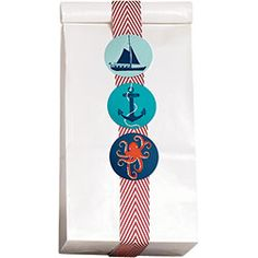 Easy and adorable treat bag using our Red & White Twill Ribbon and Nautical Circle Stickers!